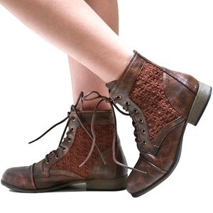 Shoes - New Brown Lace Up Lace Panel Ankle Boots Booties